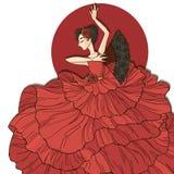 Flamenco dancer. Vector illustration. Flamenco dancer in a red dress Stock Photos