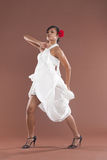 Flamenco dancer in white dress Royalty Free Stock Images