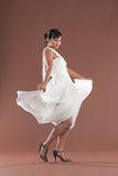 Flamenco dancer in white dress Stock Images