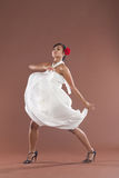flamenco dancer in white dress Stock Photos