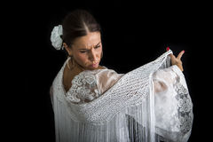 Flamenco dancer with white dress and hands crossed Stock Photography