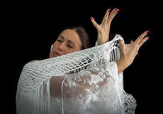 Flamenco dancer with white dress Stock Image