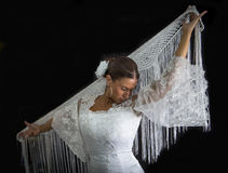 Flamenco dancer with white dress Royalty Free Stock Photos