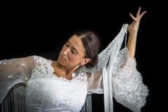 Flamenco dancer with white dress Stock Photo