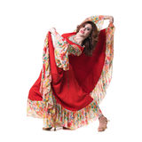 Flamenco dancer  woman posing, isolated on white Stock Images
