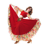 Flamenco dancer  woman posing, isolated on white Royalty Free Stock Image