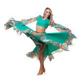 Flamenco dancer  woman posing, isolated on white Stock Photos