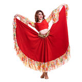 Flamenco dancer  woman posing, isolated on white Stock Photography