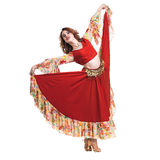 Flamenco dancer  woman posing, isolated on white in full length Stock Image