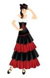 Flamenco dancer. Woman in spanish costume. Women dress hat on head Royalty Free Stock Photo