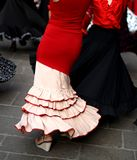 Flamenco dancers expert and dance with elegant period costumes Royalty Free Stock Photo