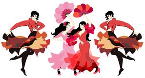 Flamenco dancers, isolated on white background in vector. Women dressed in long dresses and with fans in their hands, and men. Dancing with cloaks in the shape stock illustration
