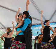 Flamenco Dancers Multicultural Festival. At the Multicultural Festival in Reston, Virginia, Spanish Flamenco Dancers performed exciting routines for crowds of Royalty Free Stock Photography