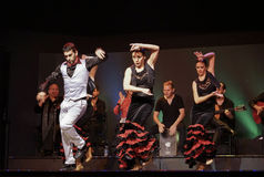 Flamenco dancers performing on stage in Barcelona, Spain. Royalty Free Stock Photos