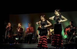 Flamenco dancers performing on stage in Barcelona, Spain. Royalty Free Stock Image