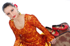 Flamenco dancers with red shoes Royalty Free Stock Photo