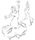 Flamenco dancers. sketch Stock Image