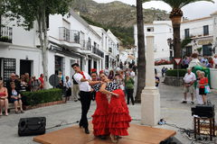 Flamenco dancers in the town of Mijas, Malaga, Spain Royalty Free Stock Images