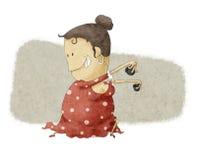 Flamenco dancing. A funny woman flamenco dancing royalty free illustration