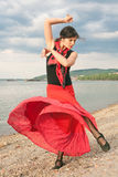 Flamenco dancing outdoors Stock Images