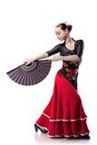 Flamenco de danse de jeune femme d'isolement sur le blanc Photo libre de droits