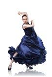 Flamenco de danse de jeune femme sur le blanc Photographie stock libre de droits