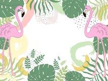 Flamenco del trópico del marco del vector hojas del verde Imagenes de archivo
