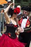 Flamenco dencer and clown Stock Photos