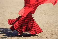 Flamenco dress. Costume and woman dancing flamenco Royalty Free Stock Images
