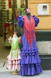 Flamenco dress is displayed in Centro old district of Sevilla Spain Royalty Free Stock Photos