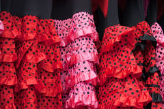 Flamenco dresses. On the local market Royalty Free Stock Image