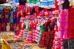 Flamenco dresses in bright colors for little girls Stock Photography