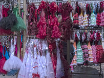 Flamenco Dresses in Nerja, a sleepy Spanish Holiday resort on the Costa Del Sol  near Malaga, Andalucia, Spain, Europe Royalty Free Stock Image