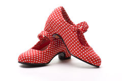 Flamenco duo. Red shoes with white spots, typical of flamenco dancer Stock Photography