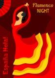 Flamenco español tradicional La mujer en vestido rojo está bailando ilustración del vector