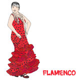 Flamenco fiesta banner for your text. Woman in long red polka-dot dress stay in dancing pose. flamenco dancer, spanish. sketch Iso Royalty Free Stock Photography