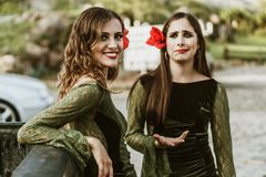 Flamenco girls in the ranch stock images