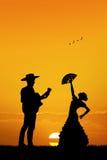 Flamenco gitarzysta i tancerz ilustracji