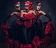 Flamenco hiszpańscy uwodzicielscy tancerze jest ubranym tradycyjnego kostium obrazy stock