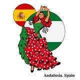 Flamenco i Andalusia, Spanien stock illustrationer