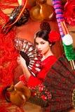 Flamenco kobieta z bullfighter Espana i typowy Hiszpania zdjęcia stock