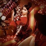 Flamenco kobieta z bullfighter Espana i typowym Hiszpania zdjęcie royalty free