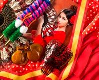 Flamenco kobieta z bullfighter Espana i typowym Hiszpania zdjęcie stock