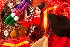 Flamenco kobieta z bullfighter Espana i typowym Hiszpania zdjęcia royalty free