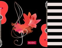Flamenco musical logo. Luxury red piece of cloth, big lily flower and silhouette half of guitars on black background. Concert. Banner template, greeting or vector illustration