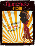 Flamenco poster. Spanish vintage flamenco poster to announce an awesome flamenco party vector illustration