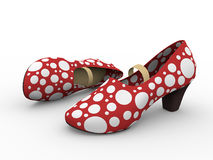 Flamenco shoes. Two red an white female flamenco shoes stock illustration