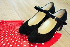 Flamenco shoes on fan Royalty Free Stock Photos