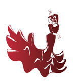 Flamenco silhouettes Stock Images