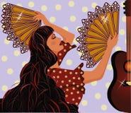Flamenco spanish girl and guitar Stock Photos
